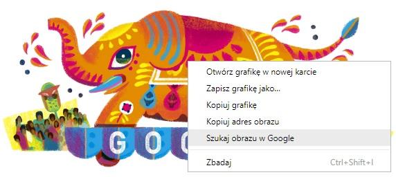 Opcja Szukaj obrazu w Google dostępna w przeglądarce Google Chrome dla Google Doodle Słoń Święto gdzie patronem jest Słonik Szczęścia 2019