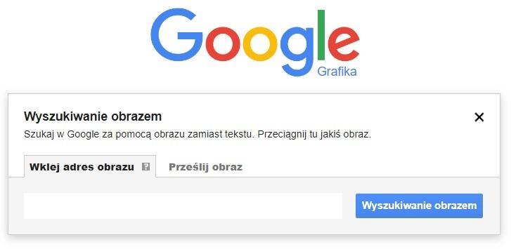 Wyszukiwanie obrazem w Google - pierwsze okno (wklej adres url obrazka)