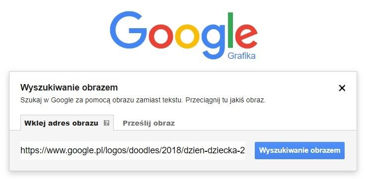 Wyszukiwanie grafiki w Google Grafika za pomocą adresu url obrazka z Doodle (dzień dziecka)