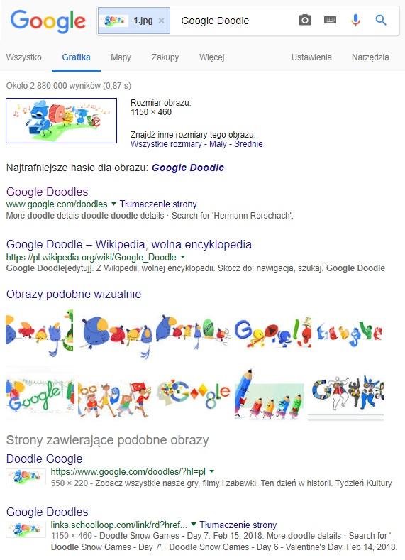 Wyniki wyszukiwania Google Grafika (przykładowy wynik dot. grafik Doodle)