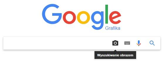 Główne okno wyszukiwarka obrazów Gogle Grafika (ikona: aparatu, wysuwana klawiatura, mikrofon wyszukiwanie głosowe, lupa szukaj)
