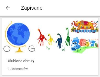 Biblioteka z przechowywanymi grafikami - ulubione obrazy z Google Doodle Dzien Nauczyciela, Dzień ojca, Święto Szczęśliwego Słonia oraz Dzień dziecka