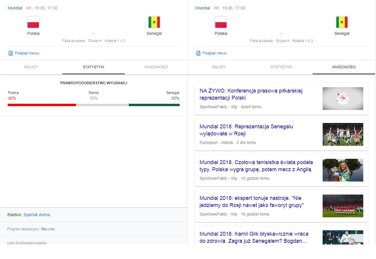 Statystyki meczowe w Google