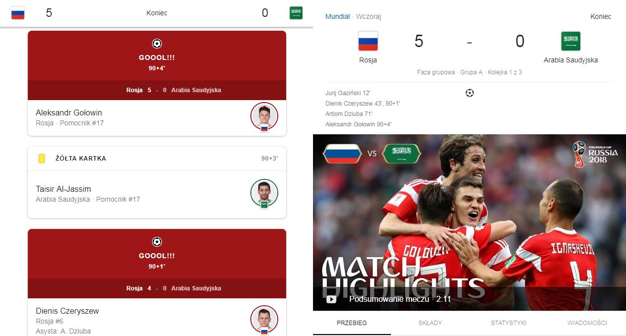 Statystyki i relacje z meczów na żywo w Google