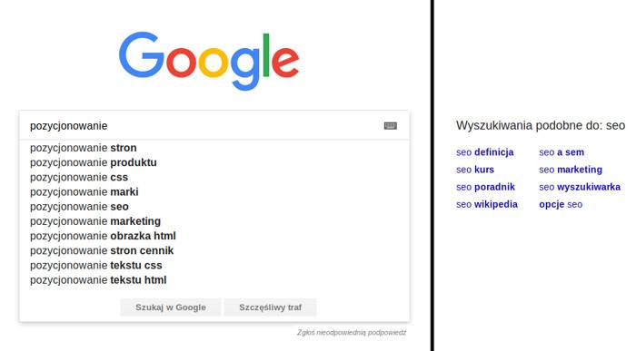 Autouzupełnienie w Google
