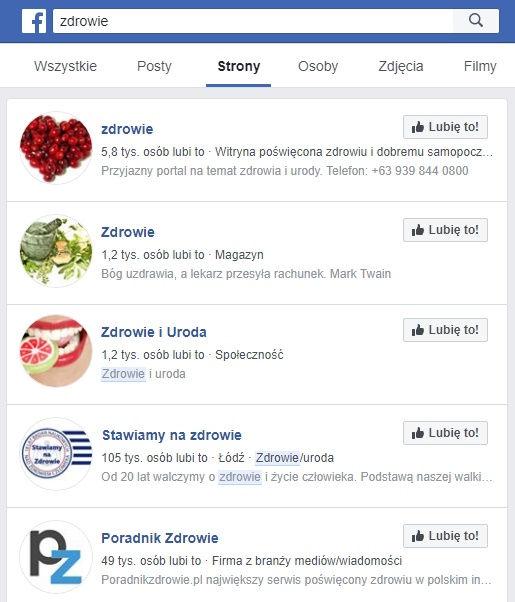Facebook - Grupy i Strony