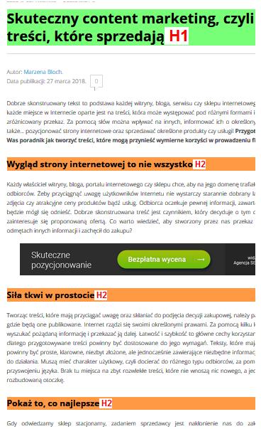 Nagłówki i struktura tekstu na stronie