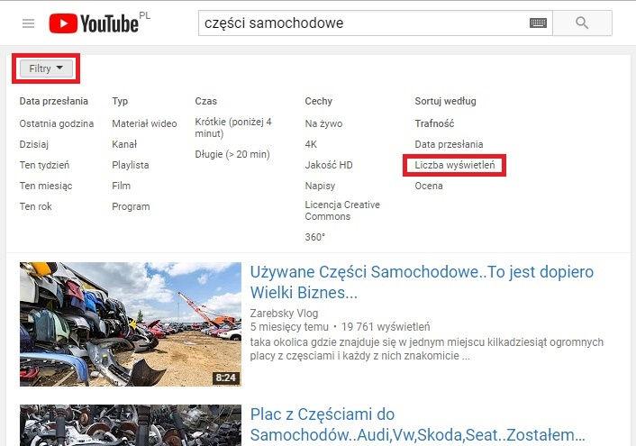 YouTube - ustawienia filtrów