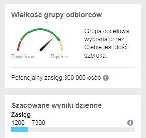 Wielkość grupy odbiorców - Reklama na Facebook