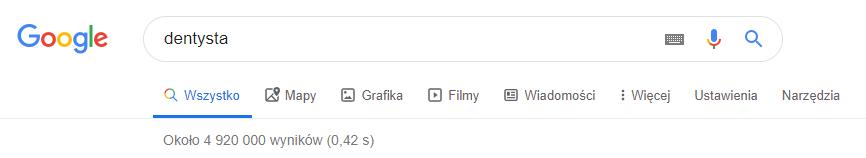"""Liczba wyników w Google - hasło """"dentysta"""""""