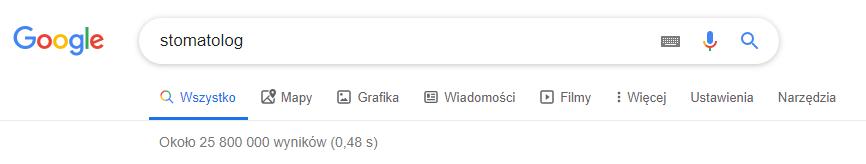 """Liczba wyników w Google - hasło """"stomatolog"""""""