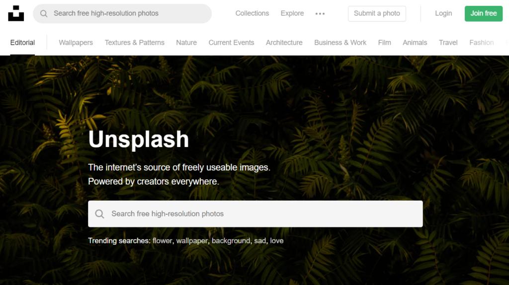 Strona główna Unsplash