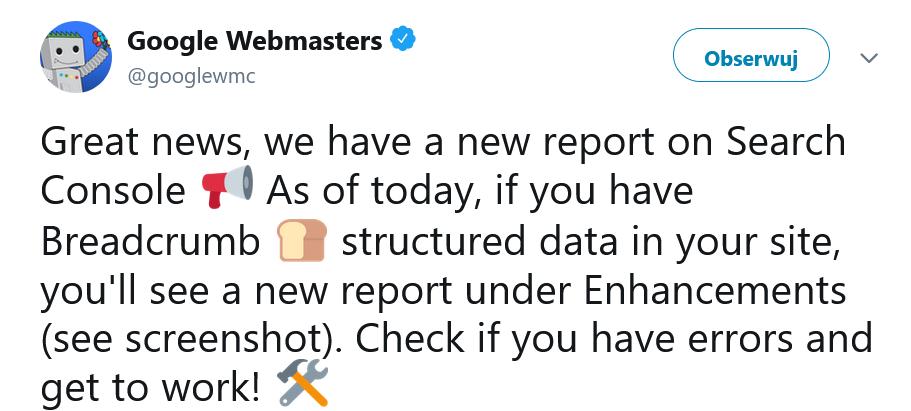Nowy raport - dane strukturalne w breadcrumbs w GSC