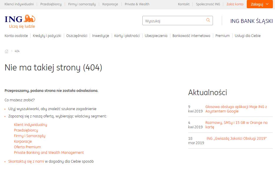 Przykład strony 404 przyjaznej dla użytkownika