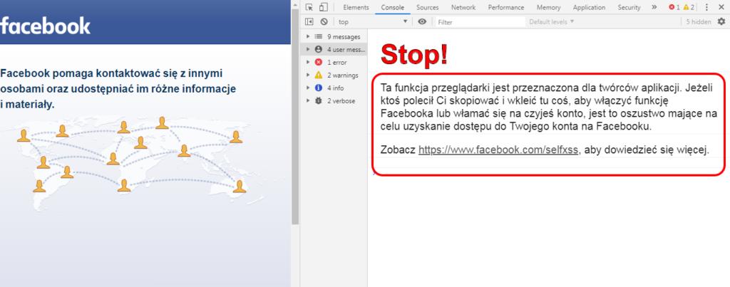 Ostrzeżenie od Facebooka przed zhakowaniem