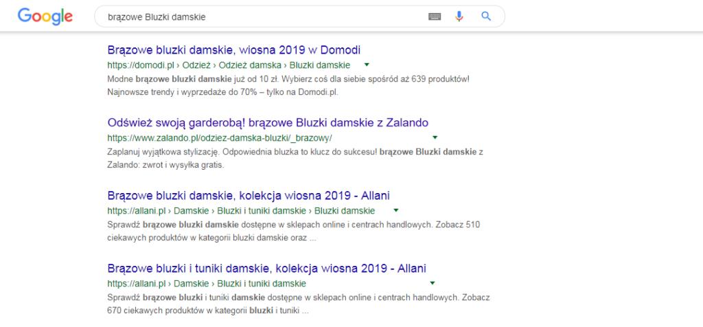 Przykład wyświetlania stron filtrowania z wyników wyszukiwania