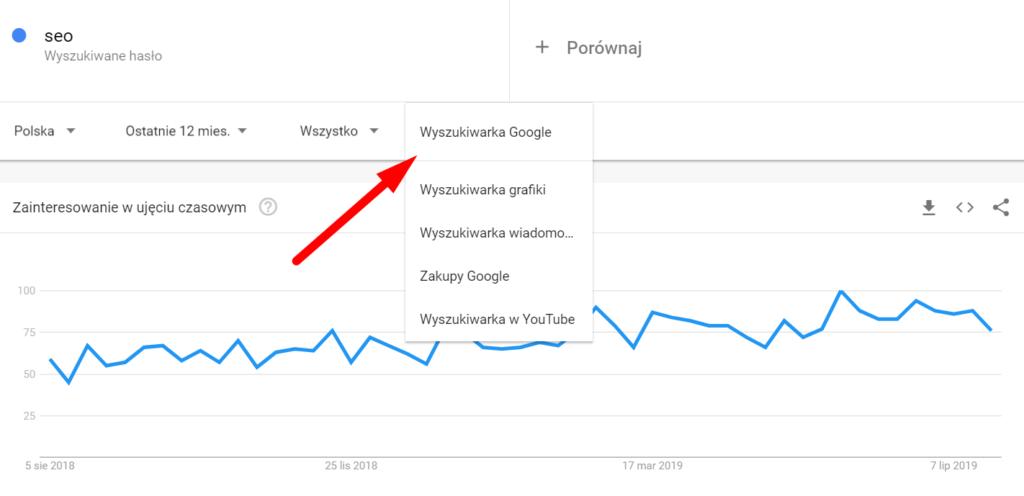 Google Trends - opcje filtrowania wyników