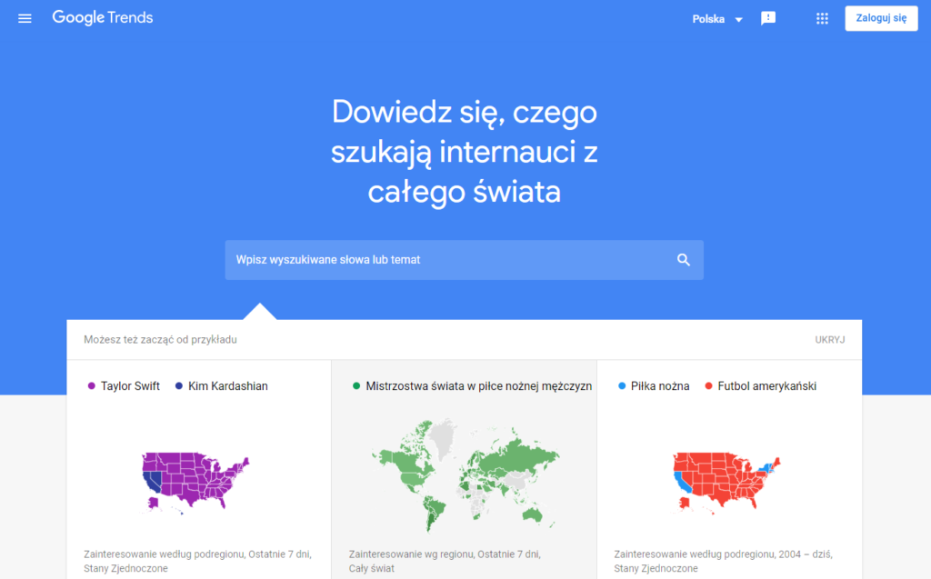 Google Trends - wygląd strony głównej
