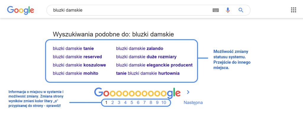 Przykład wskazania drogi użytkownikowi w Google
