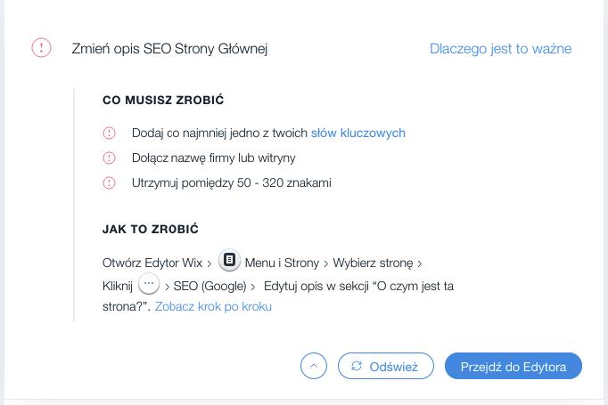 Wix SEO Wiz – edycja meta opisów