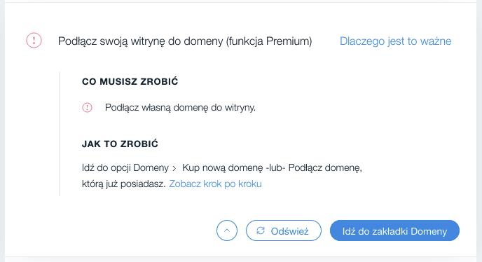 Wix SEO Wiz – podłączenie własnej domeny