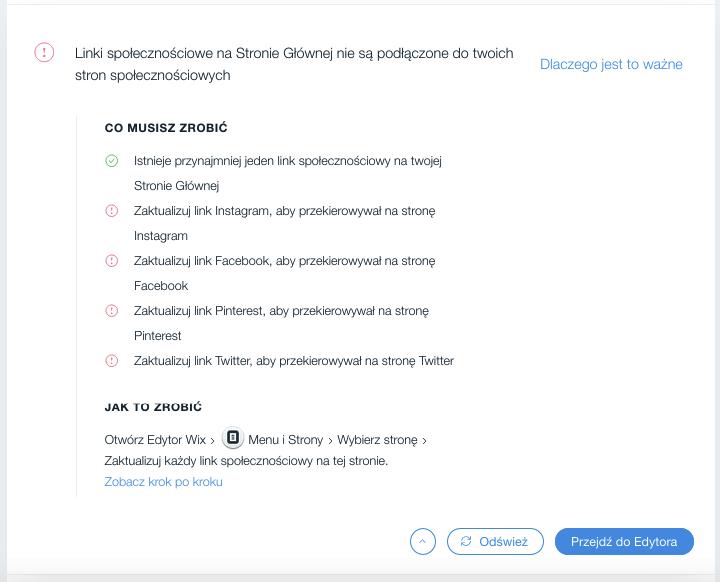 Wix SEO Wiz – podłączenie sieci społecznościowych