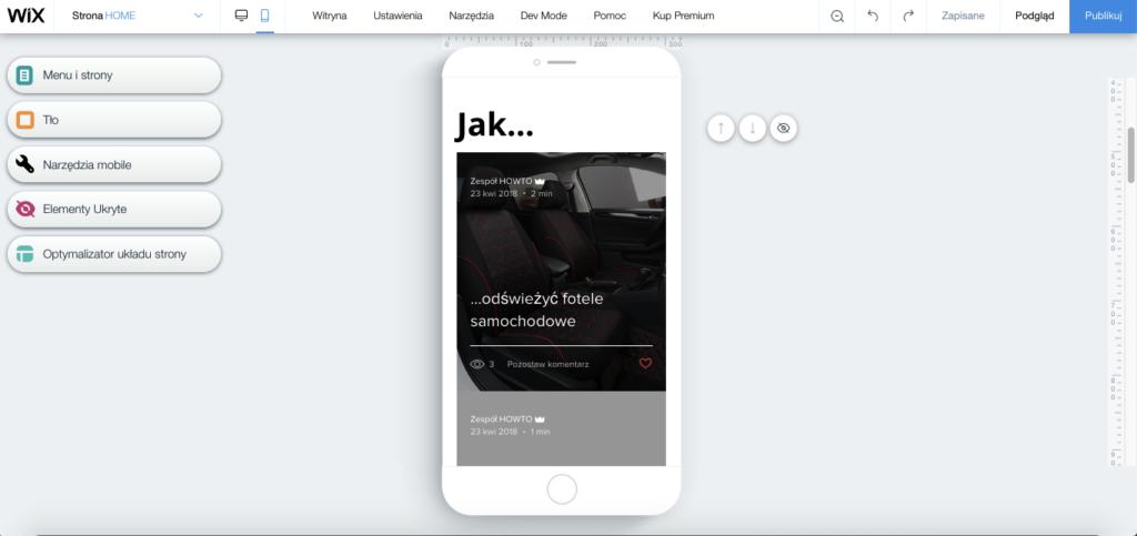 Podgląd wersji mobilnej podczas edytowania strony