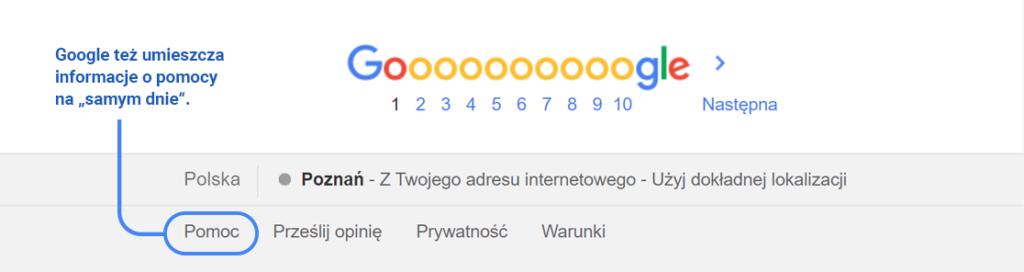 Nawet Google umieszcza linki do pomocy w stopce