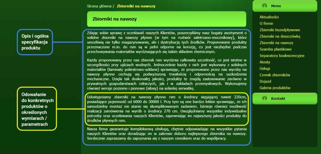 Przykład opisu produktu oraz usługi wraz z odniesieniem do specyfikacji