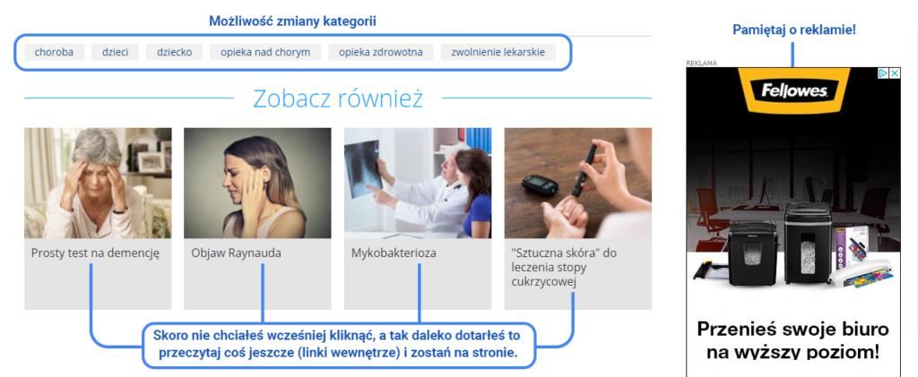 Przykład dania użytkownikowi kontroli poprzez linkowanie wewnętrzne