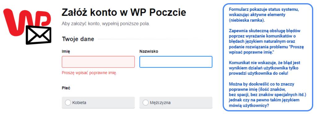 Przykład walidacji formularza z komunikatem w języku naturalnym