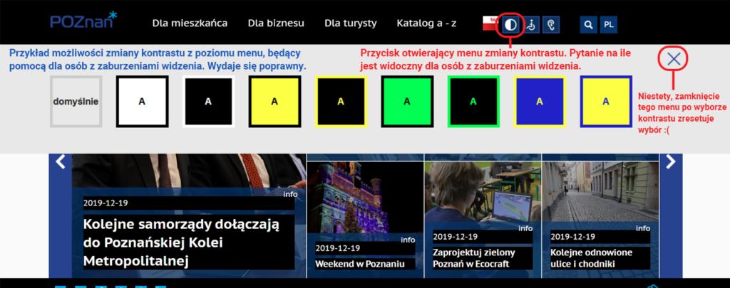 Przykład ładnej i widocznej prezentacji zmiany kontrastu na stronie poznan.pl