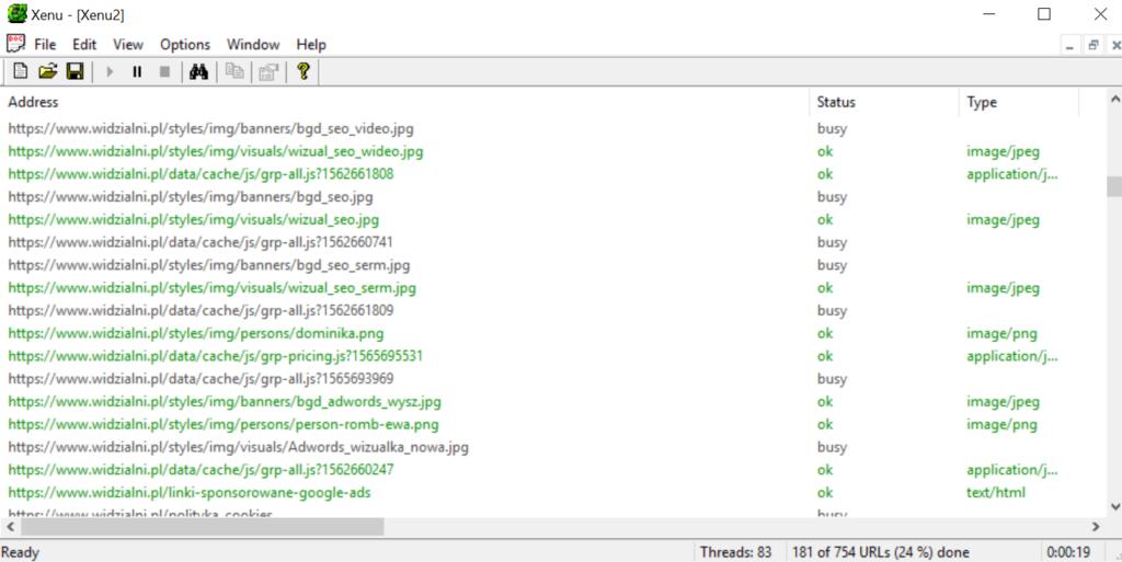 Crawlowanie strony za pomocą Xenu