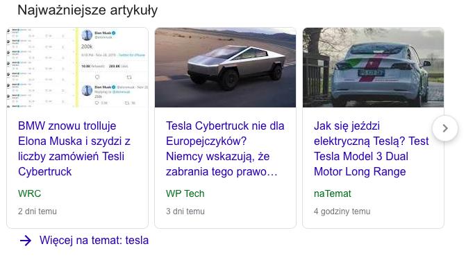 Karuzela wiadomości na górze wyników wyszukiwania