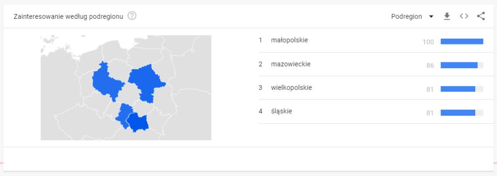 Zainteresowanie zapytaniem koronawirus w ujęciu geograficznym w Polsce
