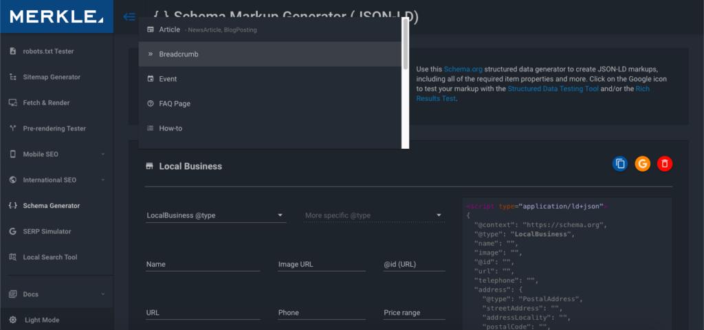 Wybór danych strukturalnych na stronie generatora
