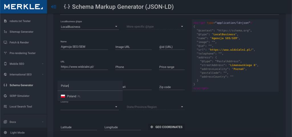 Wypełnianie danych w generatorze i podgląd skryptu JSON-LD
