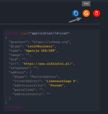 Wygenerowany kod JSON-LD i przyciski do kopiowania, weryfikacji i usunięcia kodu