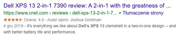 Przykład wyników wyszukiwania z danymi strukturalnymi Review