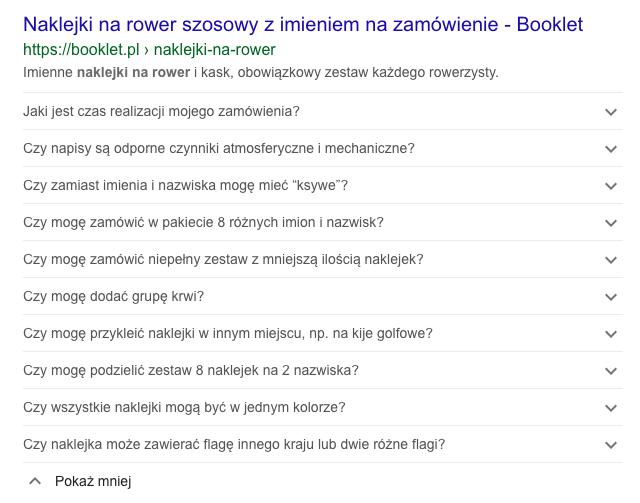 Wynik wyszukiwania z danymi strukturalnymi FAQ Page