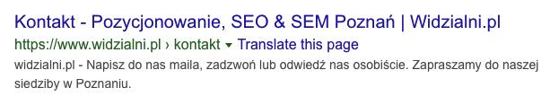 Standardowy wynik wyszukiwania