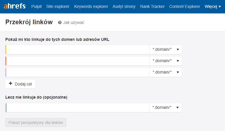 Przekrój linków - narzędzie Ahrefsa do analizy profilu linkowego
