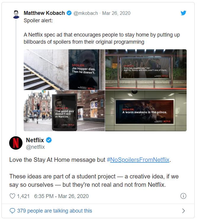 Netflix - post na Twitterze w czasach koronawirusa