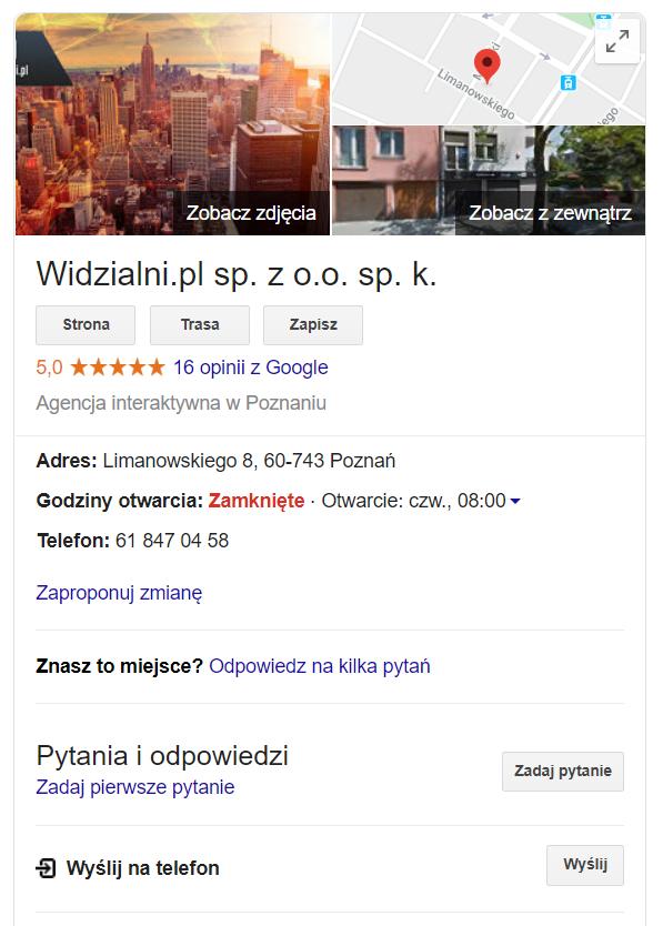Wizytówka Widzialni.pl w wynikach wyszukiwania Google