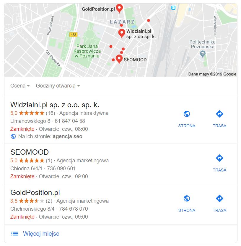 Snippet Map Google w wynikach wyszukiwania