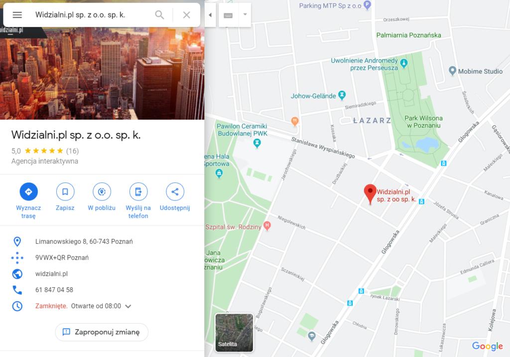 Wizytówka Widzialni.pl w Mapach Google