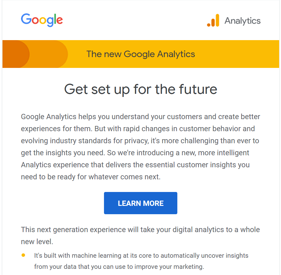Mail z Google Analytics