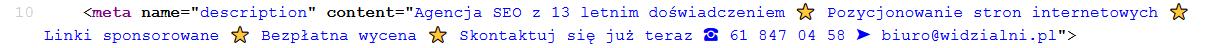 Meta description w kodzie strony