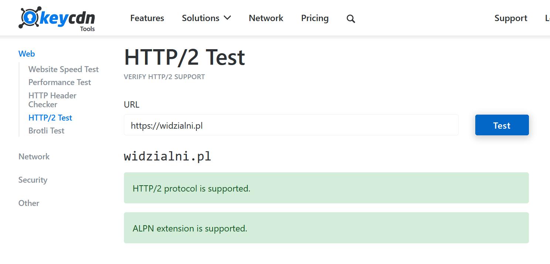 Wynik testu http/2