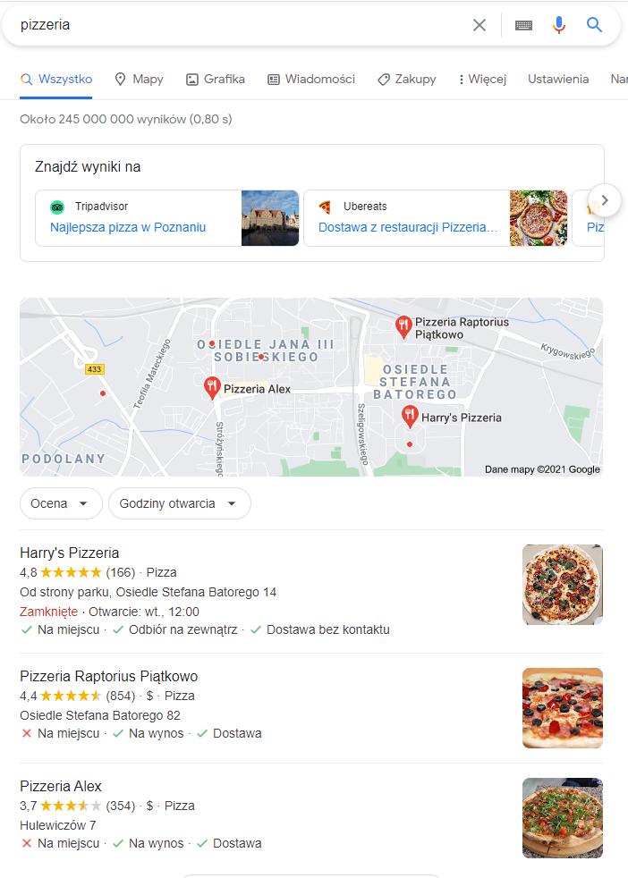 Trzy pozycje w Google na słowo kluczowe pizzeria